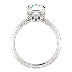 8mm Asscher Forever One Moissanite Solitaire Engagement Ring, Vintage Style Moissanite Rings USA, UK, Canada, Australia, Cyber Monday 2016, Black Friday Jewelry Gifts for Women, Anniversary Rings