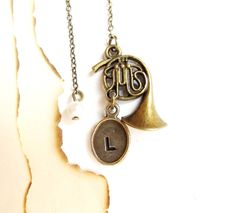 Bookmark French Horn Pendant  Personalized French by 4Everinstyle, $24.00 #homspunsociety #jewelry #bookmark