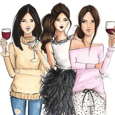 The weekend is calling! Cheers! #fashionsketch #fashionillustration #fashionillustrator #boston #bostonblogger #bostonillustrator #copic #copicmarkers #copicart #hnicholsillustration
