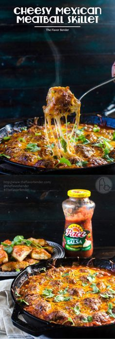 Cheesy Mexican Meatball Skillet