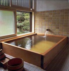Dream bathrooms - Beautiful Japanese Bathtub With Minimalist Interior Style – Dream bathrooms Japanese Bathtub, Japanese Soaking Tubs, Japanese Style Bathroom, Estilo Interior, Interior Styling, Luxury Interior, Dream Bathrooms, Beautiful Bathrooms, Master Bathrooms