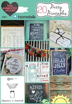 20 Pretty Printables you can get for free on hometalk from The Domestic Heart