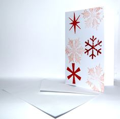 Handmade Red snowflakes with Stamped background Pack of 4 by HomeandaFarr on Etsy Christmas 2016, Snowflakes, Bookends, Origami, Stamp, Creative, Red, Handmade, Etsy