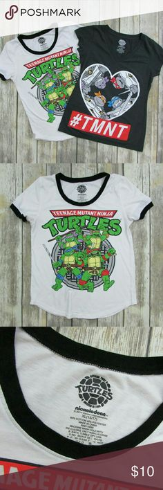 """Lot of 2 Nickelodeon Ninja Turtles Graphic T-Shirt DETAILS • Lot of 2 Teenage Mutant Ninja Turtles graphic T-Shirts. • Short sleeve. • Front graphic. • Tag-free comfort. • White/Gray. • Cotton, Polyester.  CONDITION Very good condition.  SIZE 