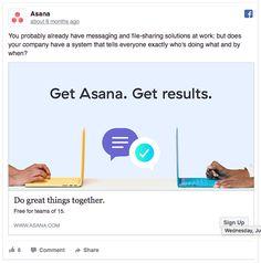 Asana uses an eye-catching slogan in their Facebook ad Best Facebook, Social Media Ad, Display Ads, Ads Creative, Competitor Analysis, Slogan, Digital Marketing, Asana, Facebook Ad Design