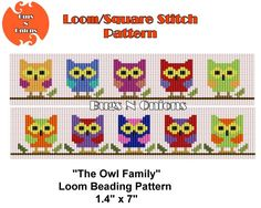 Loom Bead Owl Family Owls Loom or Square Stitch Bracelet