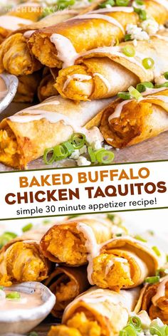 These Buffalo Chicken Taquitos are the perfect crowd-pleasing appetizer! Cheesy buffalo chicken filling is rolled up in flour tortillas and baked until crispy. Serve with an easy buffalo ranch and sprinkled with green onions and blue cheese crumbles! #buffalochicken #taquitos #appetizer #partyfood