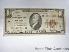 1929 United States Federal Reserve Bank New York Ten Dollar $10 Currency Note