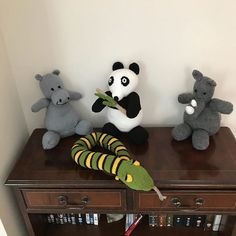 Sidney snake Herbert Hippopotamus and Ronnie Rhinoceros more characters from my fathers stories when we were small.  Random Panda as mum was bored !  #knitting #childhood #memory