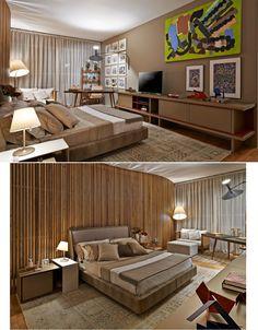 Foi pensando na década de 1950 que a arquiteta Eduarda Corrêa projetou a Suíte do Casal. No ambiente, obras de Roberto Burle Marx e a arandela com duplo foco se destacam na base de tons neutros. A Casa Cor Minas Gerais 2013 foi ambientada em uma residência projetada por Oscar Niemeyer na década de 1950.