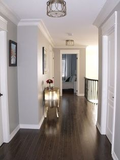 dark floors, soft grey wall color, and white molding. This is exactly how my house is but will be changing my dark floors out. Looks beautiful but the dark floors are not conducive with kids and dogs. House Design, New Homes, Wall Color, Grey Wall Color, House, Home, Interior, White Molding, Home Decor