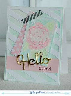 Hello Friend Card by Betsy Veldman for Papertrey Ink (April 2014)