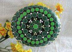 "Mandala Stone Hand Painted River Rock ~ Energy ~ Meditation ""FERN"" ~ Green and…"