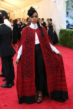 I do so love Janelle Monae, but I love her twice as much for wearing this outfit that looks like something Ada Lovelace would've worn in 1840.  Met Gala Red Carpet Arrivals - NYTimes.com