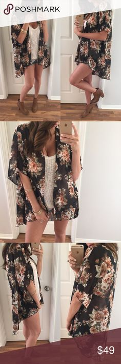 """Black Floral Sheer Kimono • To die for! I am obsessed with this kimono wrap. It can be worn so many ways with all types of bottoms. Open, flowey and meant to hang softly. All sizes are close so go with your normal sizing.   • Modeling: Small • Measures: 35.5"""" long  • Material: 100% poly   1 or 2 item bundles, please use the """"Buy It Now"""" feature. To start a bundle, please request your size  Tops"""