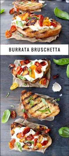 Burrata Bruschetta Recipe   http://CiaoFlorentina.com