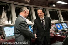 21 Feb, 2016 Greenpeace nuclear campaigner Heinz Smital (Germany) greeting Naoto Kan, Prime Minister of Japan at the time of the Fukushima Daiichi nuclear accident March 11, 2011. Mr Kan was onboard the flagship Rainbow Warrior as it sailed passed the destroyed nuclear plant. Greenpeace launched an underwater investigation into the marine impacts of radioactive contamination resulting from the 2011 nuclear disaster on the Pacific Ocean.
