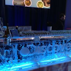 Tequila bar made of ice with shots ready at #DiscoveryUpfront