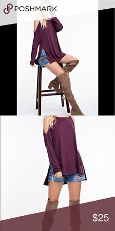 Plum Cold Shoulder Top Long sleeves and side slit. Beautiful drape and color.  Versatile transition piece. Tops Tunics