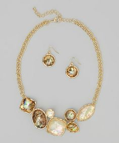 Another great find on #zulily! Gold Avalon Necklace & Earrings #zulilyfinds