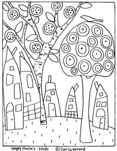 Karla Gerard Rug Hooking Patterns Sketch Coloring Page Karla Gerard, House Quilts, Happy House, Coloring Book Pages, Art Plastique, Rug Hooking, Pattern Paper, Paper Patterns, Painting Patterns