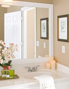 Looking For The Perfect Bathroom Mirror Ideas Easy Bathroom with regard to measurements 5000 X 3125 White Bathroom Mirror Frame - There are countless White Bathroom Mirror, Bathroom Mirror Design, Zen Bathroom, White Mirror, Master Bathroom, Rental Bathroom, Wall Mirror, Modern Bathroom, Bathroom Ideas