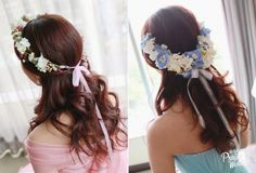 Blue and pink floral crown for your summer bridal hair!