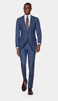 Mid Blue Suit, Light Blue Suit, Black Suit Men, Dandy, Mens Tailored Suits, Mens Suits Style, Style Men, Navy Check Suit, Traje Slim Fit