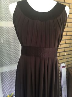 Worthington Sleeveless Belted Dress Brown Polyester Spandex Size Small…