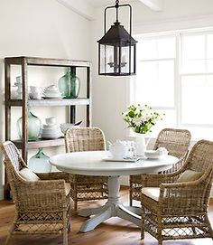 Dining room from country living magazine. Love the wicker chairs around a wood and painted table Wicker Chairs, Cane Chairs, Old Wicker, White Wicker, Dining Room Inspiration, Style Inspiration, Dining Table, Dining Rooms, Dining Area