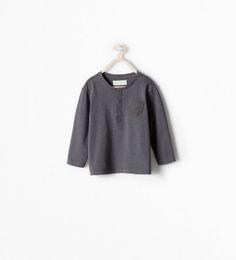 ZARA - ENFANTS - T-shirt col tunisien avec poche