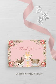 Introducing AVA - The sweetest pink baby shower thank you card, perfect for a sweet baby girl, is an editable instant download template. AVA has other matching elements, browse our Etsy page for more. #babyshower #babyshowerinvite #babyshowerthankyou #virtualbabyshower #babygirl