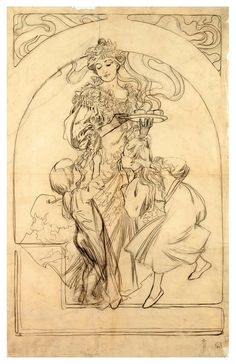 "songesoleil: "" Design for the poster Chocolat Pencil, tracing paper. National Gallery in Prague. Art by Alphons "" Art Nouveau Mucha, Alphonse Mucha Art, Art Sketches, Art Drawings, Art Deco Artwork, Art Du Croquis, Illustration Art Nouveau, Art History, History Major"