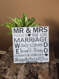 A personal favorite from my Etsy shop https://www.etsy.com/listing/270087813/personalized-marriage-sign-wedding-sign