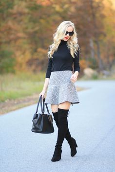 Coveted: black fitted turtleneck, LOFT tweed flounce mini skirt, Stuart Weitzman Highland boot, over the knee boots with bare legs and skirt, black suede OTK boots, classic fall look, mini skirt and boots