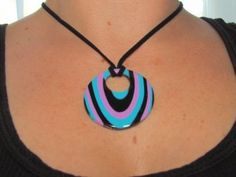 polymer clay pendant in my favorite colors