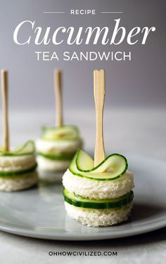 Dainty and easy-to-make cucumber sandwiches with chive butter perfect for tea time and afternoon tea parties. Dainty and easy-to-make cucumber sandwiches with chive butter perfect for tea time and afternoon tea parties. Cucumber Tea Sandwiches, Finger Sandwiches, Cucumber Bites, Cucumber Salad, High Tea Food, Fingerfood Party, Party Nibbles, Party Appetizers, Bridal Shower Appetizers