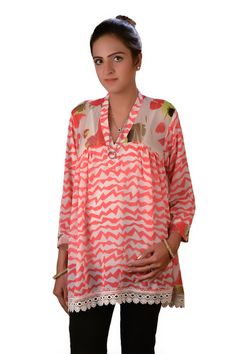 Pink and White Women's Top Frock Kurti Tunic