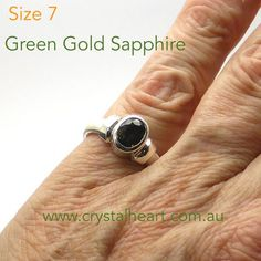 Green Gold Parti Color Sapphire Ring    925 Sterling Silver   US Size 7   Satinised Band   Genuine Gemstone   Crystal Heart Melbourne Australia since 1986