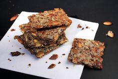 Homemade Multi-Seed Crackers - water, whole flax seeds, chia seeds, sunflower seeds, pumpkin seeds, sea salt, seasonings of choice (e.g. black pepper, chili, onion, garlic powder, oregano, rosemary, thyme)