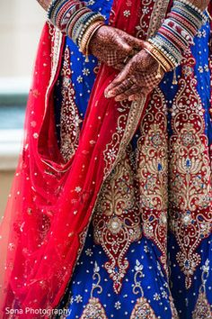 Blue and red wedding lengha