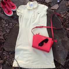 """Lacoste Classic Pique Polo Dress Soft yellow pique fabric is classic and sporty with a cute pair of sneakers! 94% cotton/4%elastane machine wash and hang dry.  Excellent condition and ready for Spring! Length 31"""" neckline to hem. Lacoste Dresses"""