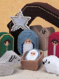 Nativity Scene (plastic canvas) - Nativity Scene set was made using 7-count plastic canvas. Set includes stable, wise men, holy family and animals. Great size for little ones to celebrate the Christmas story.  Skill level: Easy Designed by Christina Law