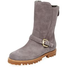 Manolo Blahnik Women's Kagasella Shearling Lined Boot - Grey - Size 35 ($800) ❤ liked on Polyvore featuring shoes, boots, grey, small heel boots, platform shoes, heeled boots, platform buckle boots and grey boots