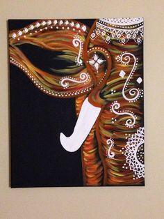 Bohemian elephant canvas painting.