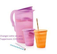 Pichet flash 2 L & 2 verres pailles en offre hôtesse à 39,900 DT