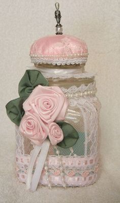 Etsy :: RoseGardenStitches :: Shabby Rose Lace Jar For Sewing/Pin Cushion Bath Salts Candy Jar