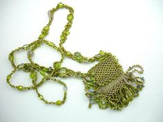 """""""Get Loopy"""" Hand-Beaded Bag Necklace - handcrafted artisan jewelry on Ruby Lane"""
