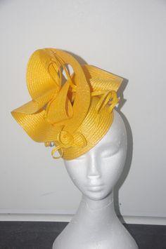 Designer fascinator one of a kind. Yellow buntal twist hand sewn on black base races, cup fashions on the feild by DesignerFascinators on Etsy Fascinator, Headpiece, Hand Sewn, Crochet Hats, Base, Sewing, Yellow, Handmade, Fashion