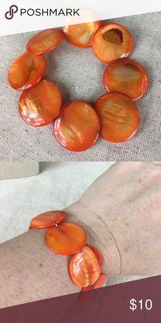 "🆕 Orange Shell Elastic Bracelet Very pretty orange shell elastic bracelet. New.  Size 6.5"".  Look for matching necklace and earrings in my other listings.  BQB Kaki Jo's Closet Jewelry Bracelets"